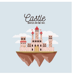 poster of castle princesses and fairy tales with vector image