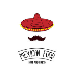 sombrero and mustache mexican food badge vector image