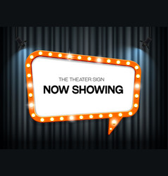 theater sign on curtain background with spotlight vector image vector image