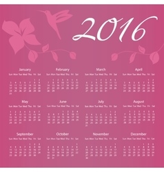 2016 Calendar with Hummingbird and flower with vector image