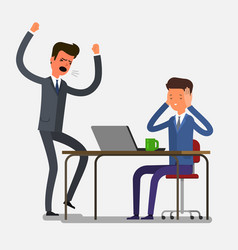 Angry businessman shouting at his workers vector