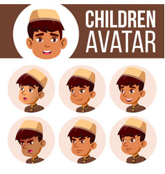 arab muslim boy avatar set kid primary vector image
