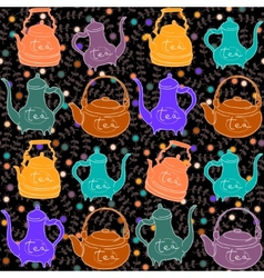 Background with colored teapots Funny pattern vector image