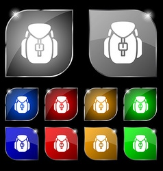 Backpack icon sign Set of ten colorful buttons vector