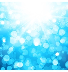 Blurred Blue Background With Sun rays and bokeh vector image