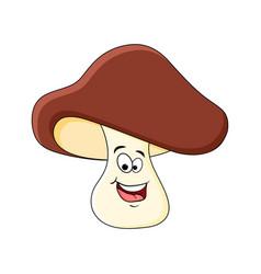 Boletus mushroom character isolated on white vector