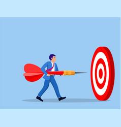 businessman aim arrow to target vector image