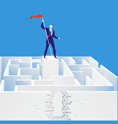 Businessman finding exit vector