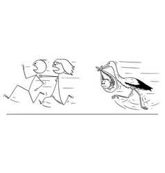 cartoon couple or parents running away from vector image