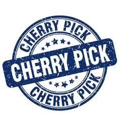Cherry pick blue grunge stamp vector
