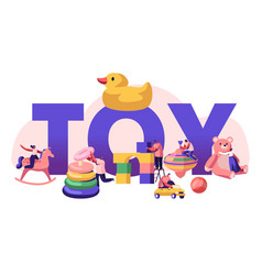 Childhood activity concept tiny characters vector