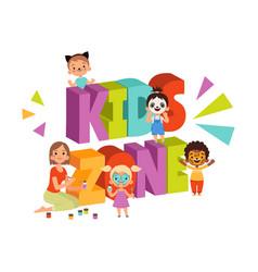 children face painting cartoon animator girl in vector image