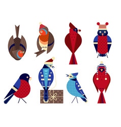 christmas birds in funny hats icons set vector image