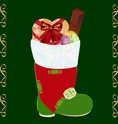 Christmas boots with gifts vector image