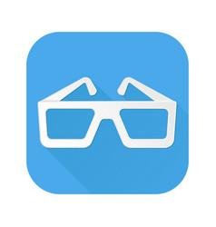 cinema glasses icon white sign on blue square vector image