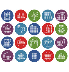 collection round dotted icons industries vector image