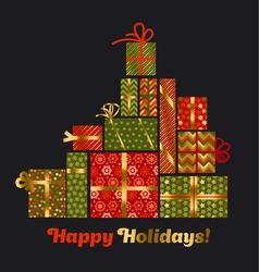Concept xmas style gift box pyramid Christmas vector