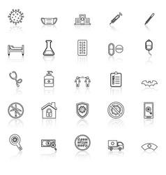 coronavirus line icons with reflect on white vector image