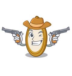 Cowboy pumpkin seeds in a cartoon bowl vector