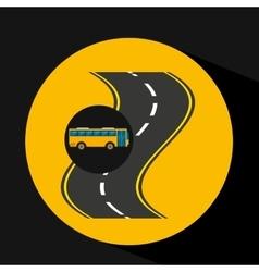 Curve road bus transport public vector