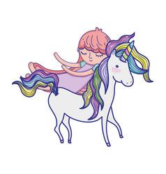 Cute sweet unicorn with girl sleeping vector