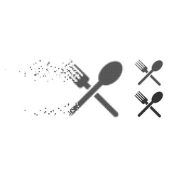 Disintegrating pixel halftone fork and spoon icon vector