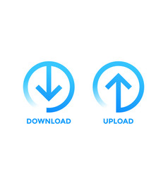 Download upload icons with arrow in circle vector