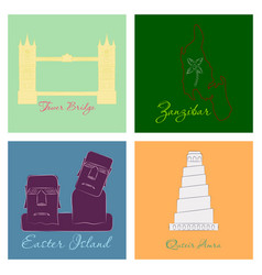 Famous place and monument around world vector