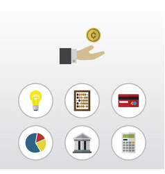 flat icon incoming set of bank counter calculate vector image