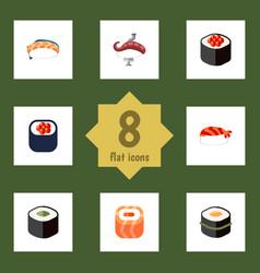 Flat icon salmon set of sashimi seafood gourmet vector