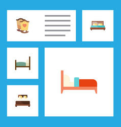 Flat set of bed crib hostel and other vector
