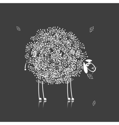 Funny sheep sketch for your design vector