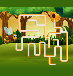 Game bee maze find their way to the bee house vector