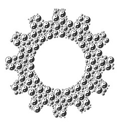 Gear wheel mosaic of yin yang icons vector