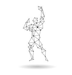 Geometric bodybuilder design silhouette vector