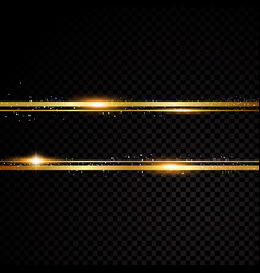 Golden line banner isolated on black vector
