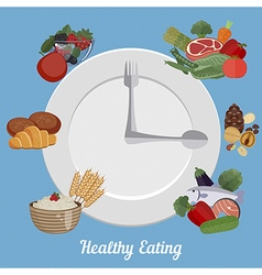 Healthy eating food plate vector