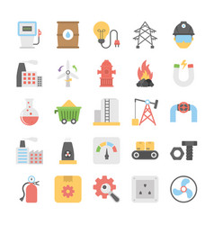 Industrial and construction flat icons set vector