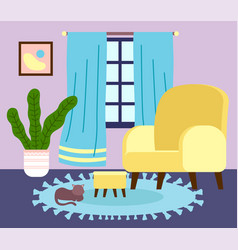 Interior stylish living room with domestic cat vector