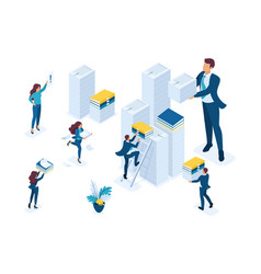 Isometric collection for reporting audit company vector