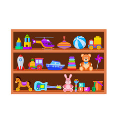 kid toys on shelves children toy on wooden shop vector image