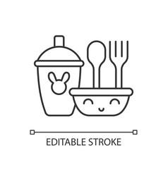 Kids dinnerware linear icon vector