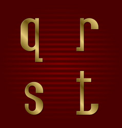 lowercase gold font isolated q r s t letters vector image