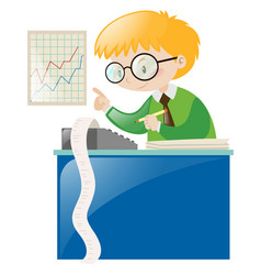 Male accountant working with numbers vector