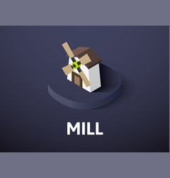 mill isometric icon isolated on color background vector image