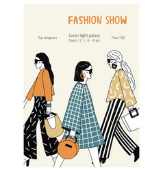 Modern flyer or poster template for fashion show vector