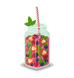 mug of refreshing drink fresh strawberry cocktail vector image