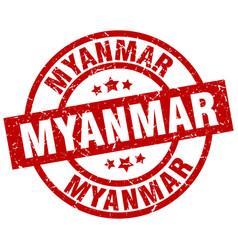Myanmar red round grunge stamp vector