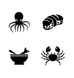 Ocean seafood fish restaurant simple related icons vector