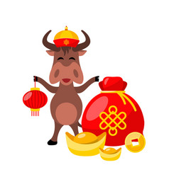 Ox with golden ingots coin happy new year vector